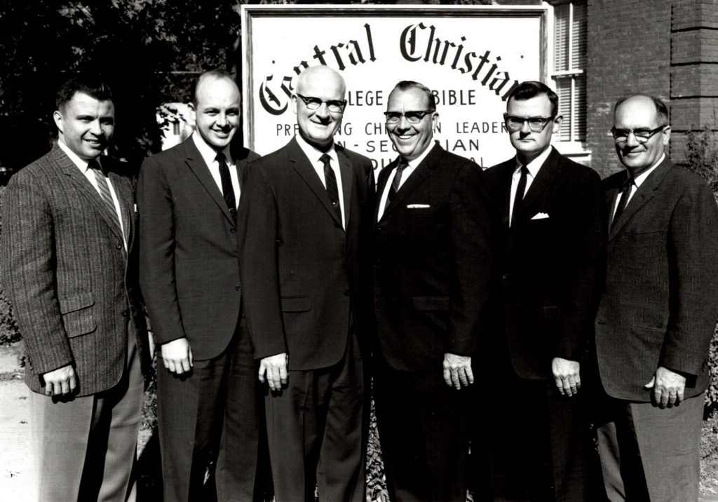 Gareth Reese, Lloyd Pelfrey, L. Edsil Dale, President Ensign, John  Leinbaugh, and Norval Campbell served on the faculty.